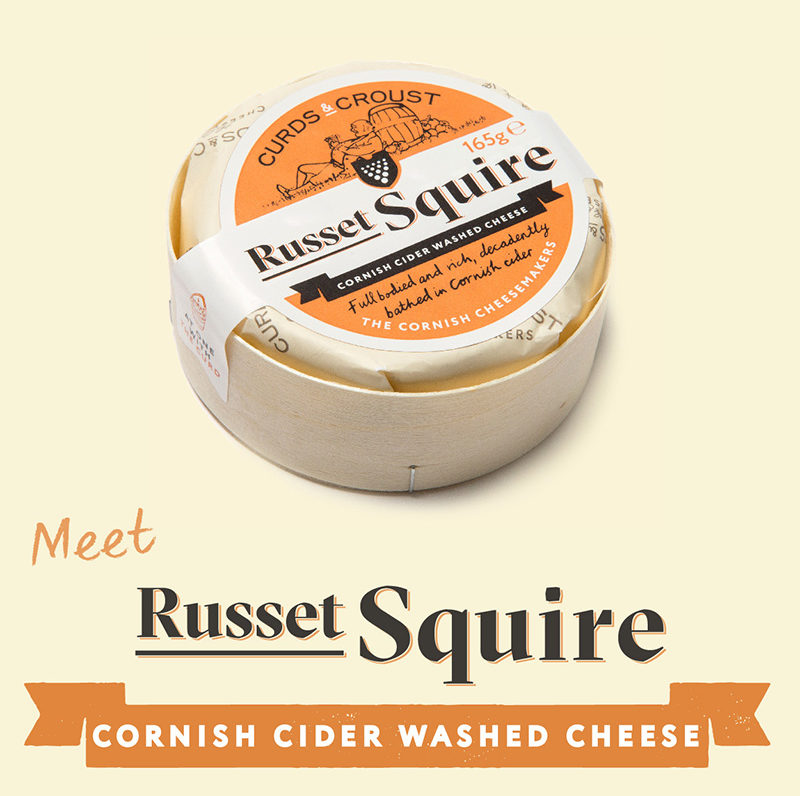 Russet Squire cider washed Cornish cheese